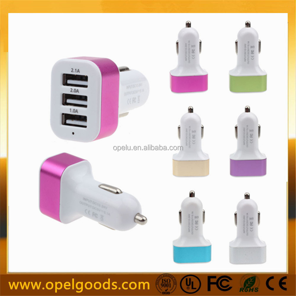 Factory 12V 24V 3 Port Electric USB Car Charger For Smart Phone
