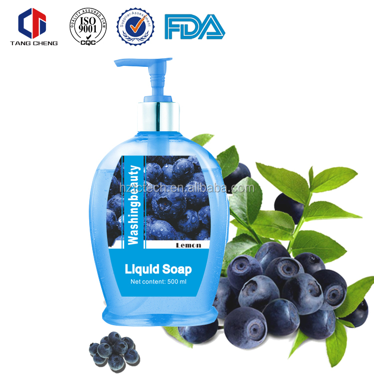 500ml High Quality Washing Beauty Cute Blue Bottle Extra Energisant Blueberry Liquid Soap