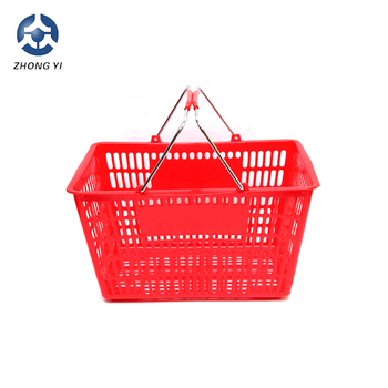 4 hot Single Handle Plastic Trolley Baskets with Wheels