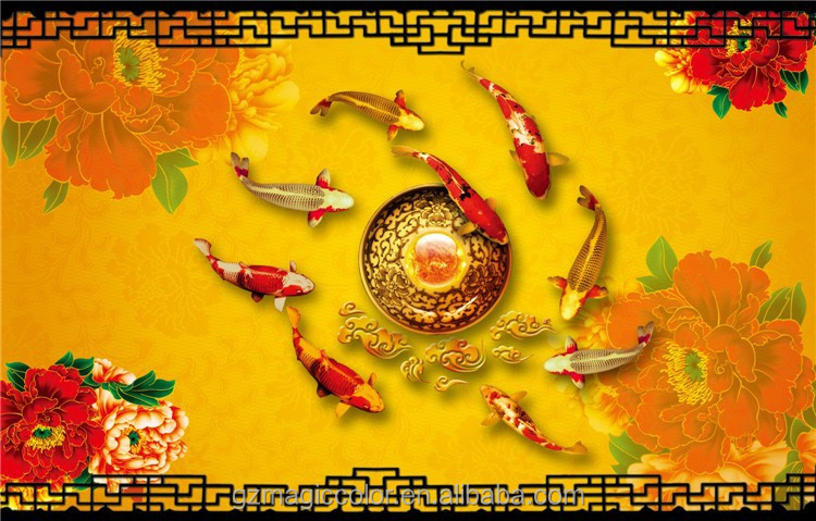 golden fish and red floral decoration wall wall paper