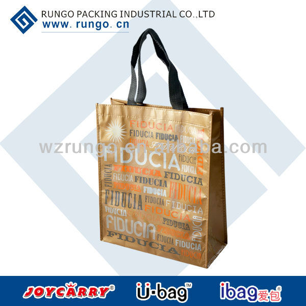 golden metallic nonwoven promotional tote bag