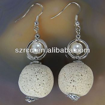 Wholesale fashion earring white lava roun beads earring jewelry beads