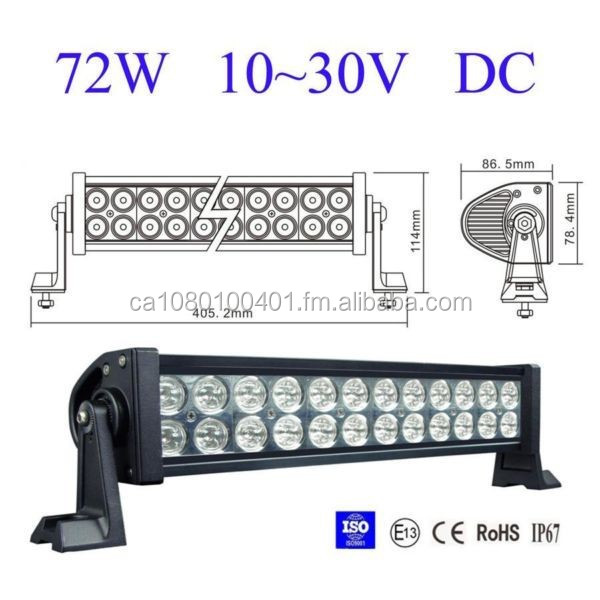 IP68 waterproof 72 watt 12 inch boat LED light bar