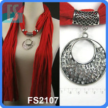 Medallions long jewelled Pendant scarves