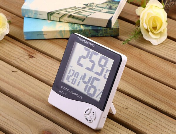Digital thermometer Humidity Temperature Meter with Clock, hygrometer ,fast ,free shipping