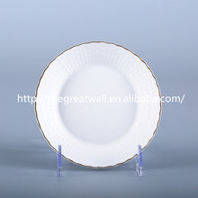royal 6/8/9/10 inch white with gold rim embossed side plate, charger plate for wedding,dinnerware sets