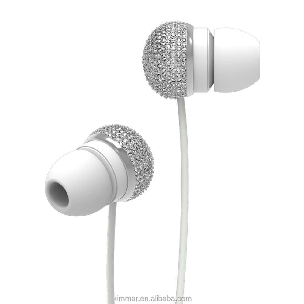 Luxury and fashionable bright siliver diamond housing top quality sound stereo in-ear earphone for MP3/smartphone/Tablet