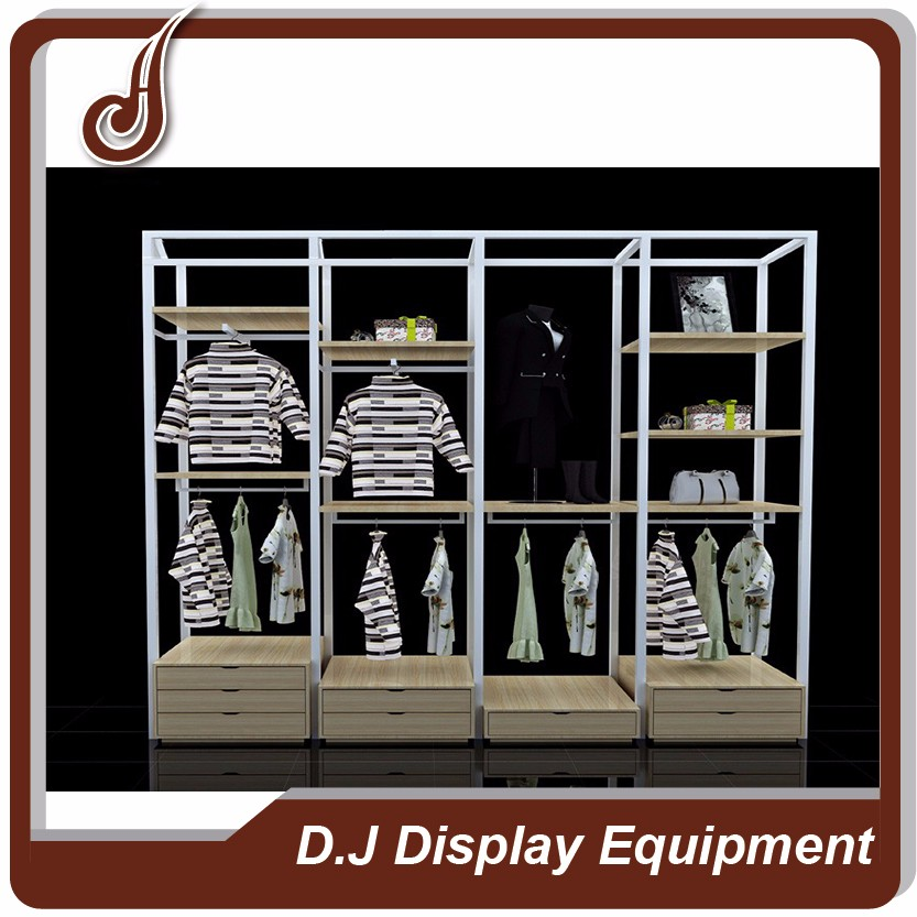 Customized size FR-MDF PD and iron material clothing boutique store display furniture