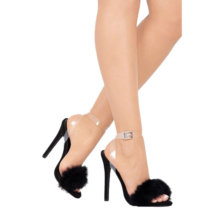 Manufacture chaussure femme women clear stiletto faux fur sandals block <strong>heels</strong> for ladies