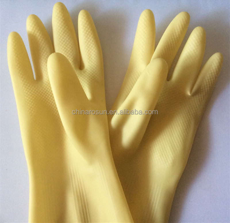 Yellow long rubber gloves for cooking hand glove potted kitchen clean long sleeve industrial rubber gloves