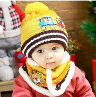 Baby Crochet Hat Scarf Winter Car and Christmas Tree Design Hat Children Knitted Beanie Cap Boy&Girl Hat Kids Caps