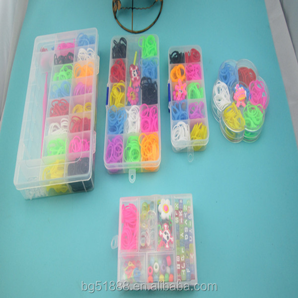 wholesale DIY rainbow colorful silicone loom band kit and refill DIY rainbow rubber band bracelet colorful latex free loom bands