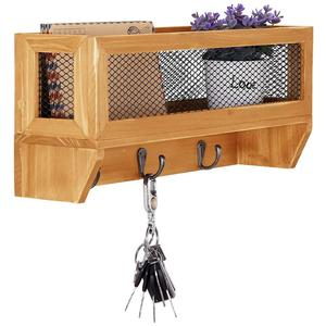 3 Hooks Rustic Wooden Wall Mounted Entryway Organizer Rack with Metal Mesh Storage Basket