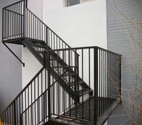Outdoor metal staircase, Grids treads, outdoor stair railing design, galvanized stairs, TS-247