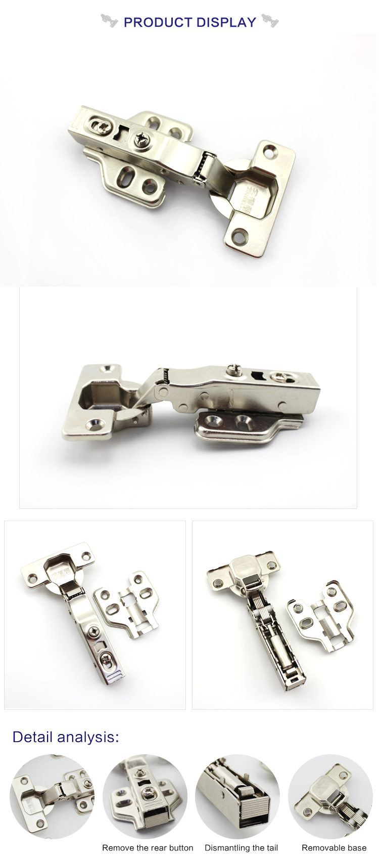 China supplier kitchen cabinet hydraulic self closing hinge conceal stainless steel cabinet hinge for furniture