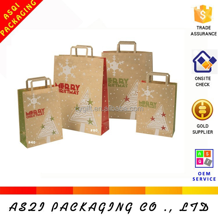 custom handmade merry christmas flat handles brown kraft paper gift bag