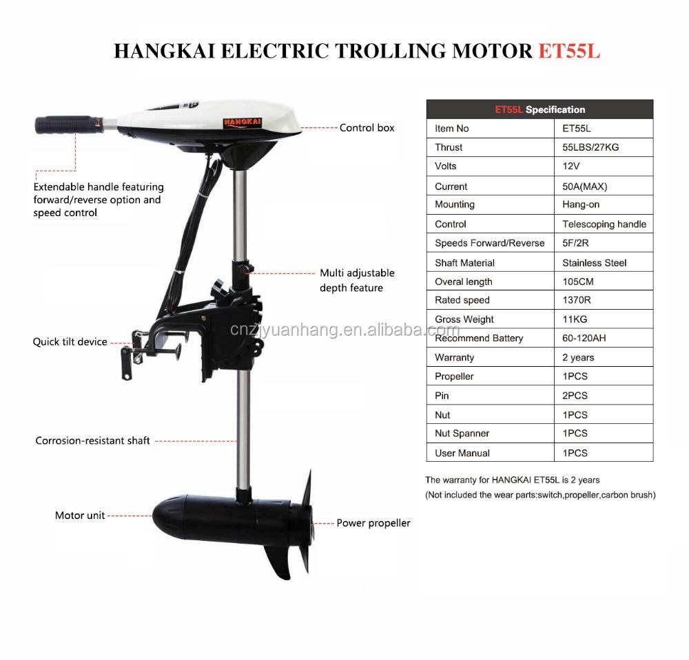 Hangkai 55lbs thrust electric boat trolling motor buy for Trolling motor shaft length