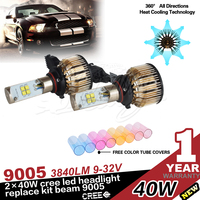 Auto Lighting Car LED headlight 9005 H4 H7 H8 H10 H11 9006 H13 9007 with 4 colors Tube for DIY 12v-24v, Waterproof