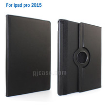 360 degree rotating lichee pattern pu flip stand cover leather case for ipad pro