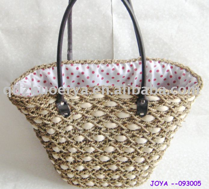fashional natural corn husk +paper rope mixed straw bags