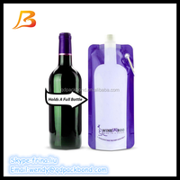 China manufacturer collapsible reusable 750ml wine bag with spout tap packaging spout pouch