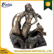 garden ornament outdoor sculpture resin mermaid with dolphin statue NT-FSY118