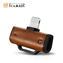 ICARER Leather Design 2 in <strong>1</strong> 3.5 mm Splitter Adapter for iPhone <strong>X</strong> for Apple