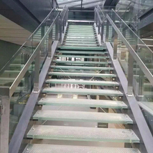Safety Stainless steel stringers tempered laminated glass stair treads