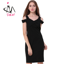 Simple Western Style V Neck Off the Shoulder Solid Black Slim Short Mini Sexy Night Dress for Women