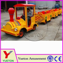Zhengzhou Yueton Kids Amusement Train Rides Wooden Trackless Electric Train Playground For Sale