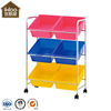 Toy storage design 6 tiers pp kids toy organizer with metal frame