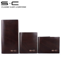 2013 new group cowleather wallet with turnover credit card slot and photo case inside with silk-screen logo outside handmade