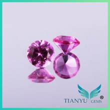Free Sample Factory 2.0mm Faceted Round Light Rose #3 Cut Synthetic Corundum Sapphire Wholesale for Necklaces Jewelry making