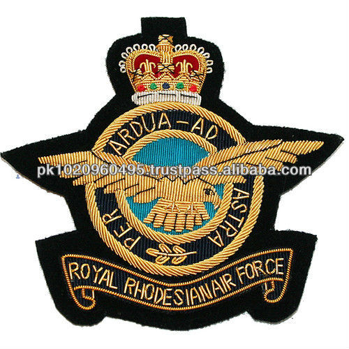 Royal Air Force Hand Made Gold Bullion Cap Badge, crest, patch | Cap Insignia | Air Force Cap Badge |