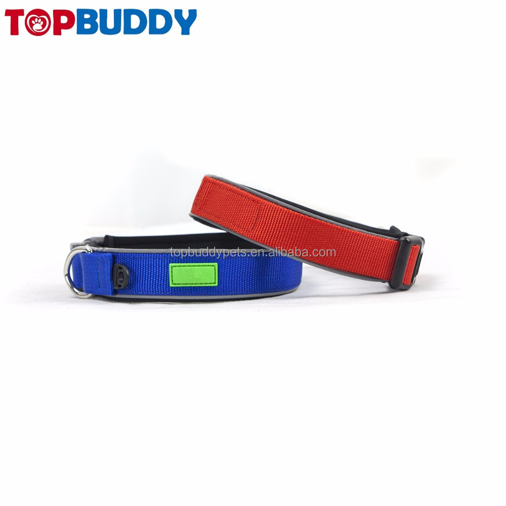 colorful plain nylon webbing dog training collars