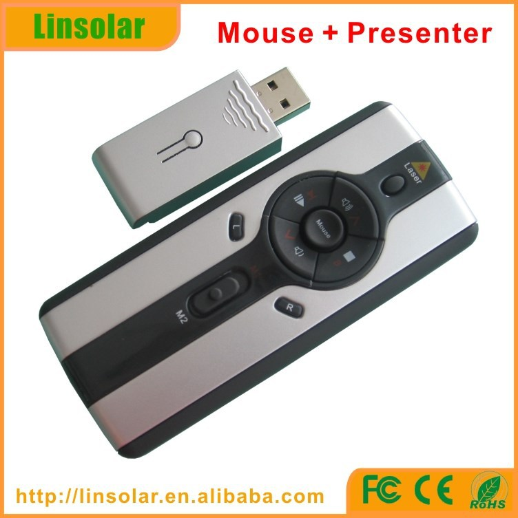 RF 2.4G wireless presenter mouse with laser pointer, multimedia laser pointer presenter