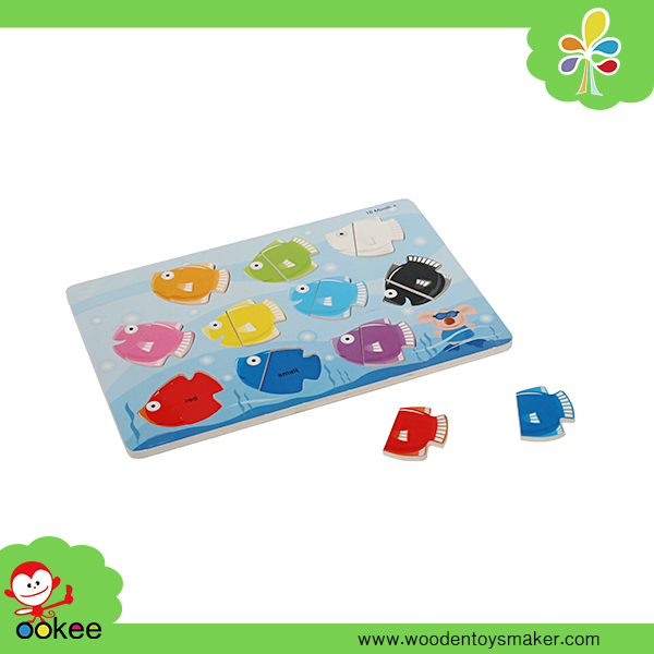 Wooden Educational Toy Fish Shape Puzzle Game for Children Wange Toys