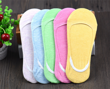 Women colorful no show cotton socks with antislip