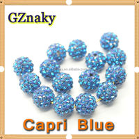 Capri Blue 10mm Cheap Wholesale Shamballa Pave Beads In Bulk Jewelry Findings Pave Clay Disco Ball Beads For Jewelry bracelet