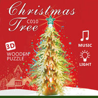 2015 new Christmas wooden tree 3D wooden puzzle xmas decoration