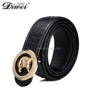 Fashion Black Crocodile Belly Leather Belt With Crystal Buckle For Men