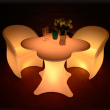 Led night flower club table bistro pub dining set