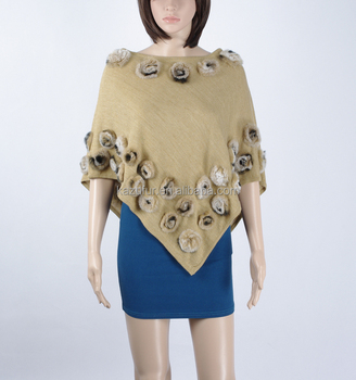Ladies wool knitting cape with rabbit small flowers,KZ150018