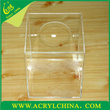 clear acrylic lucky draw box with a hole, transparent plexiglass lucky draw box with 250*250*250mm
