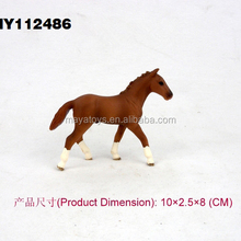 Realistic 3d plastic horse shape toys small rubber animal toys plastic riding toy horse 10*2.5*8 cm