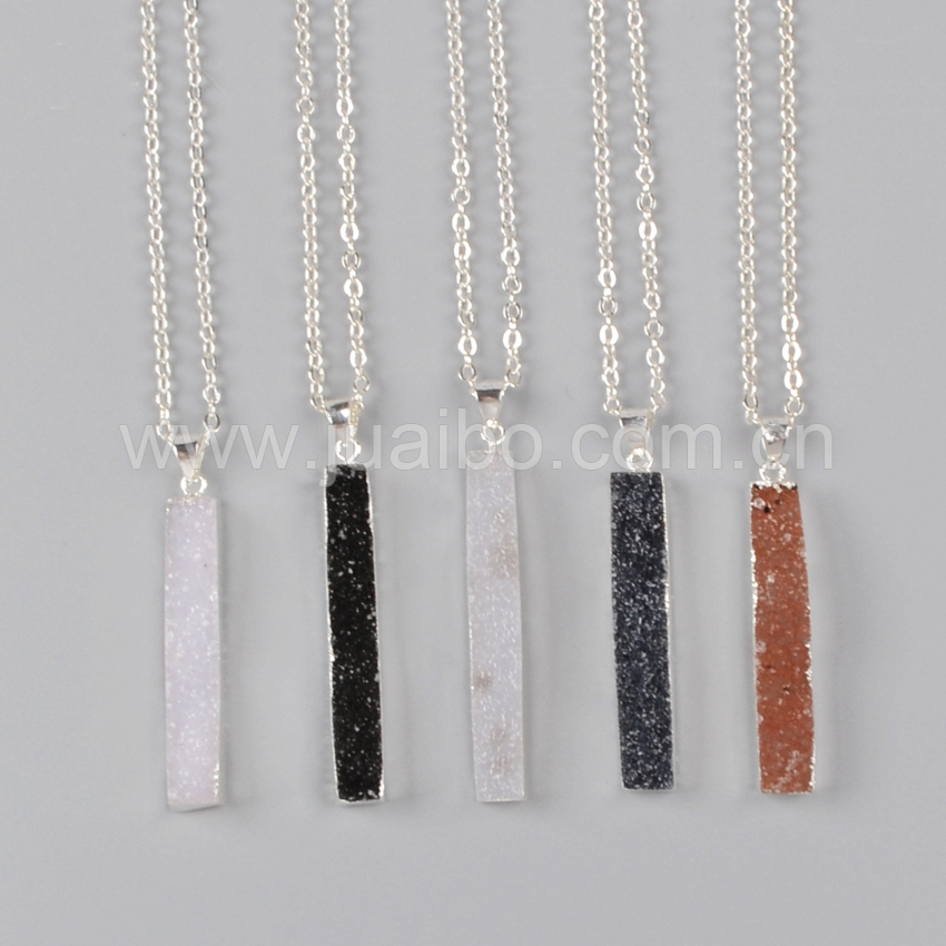 Druzy bar pendant, rectangle natural agate gemstone jewelry pendant, 925 sterling silver jewelry