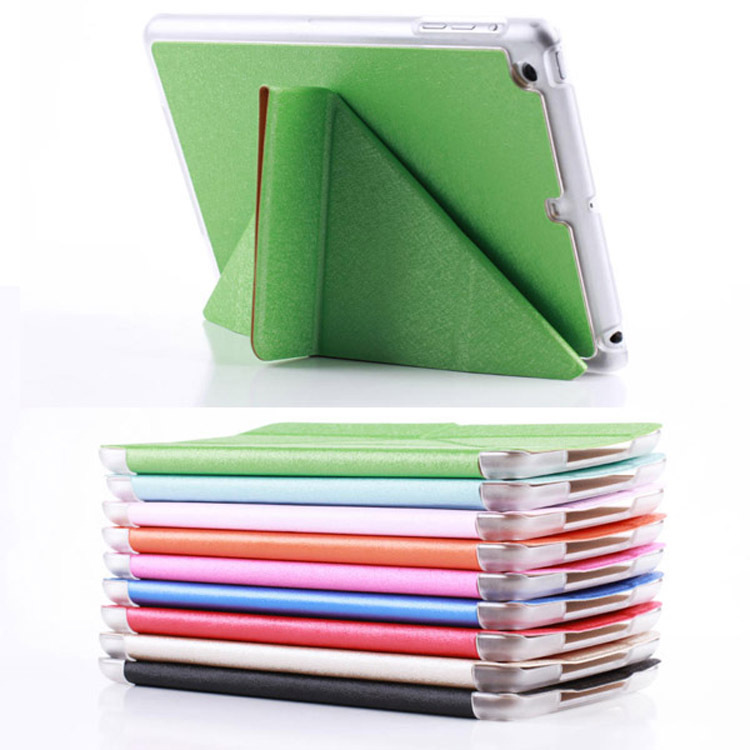 High-end silk pattern transformers stand for ipad mini 2 leather smart case