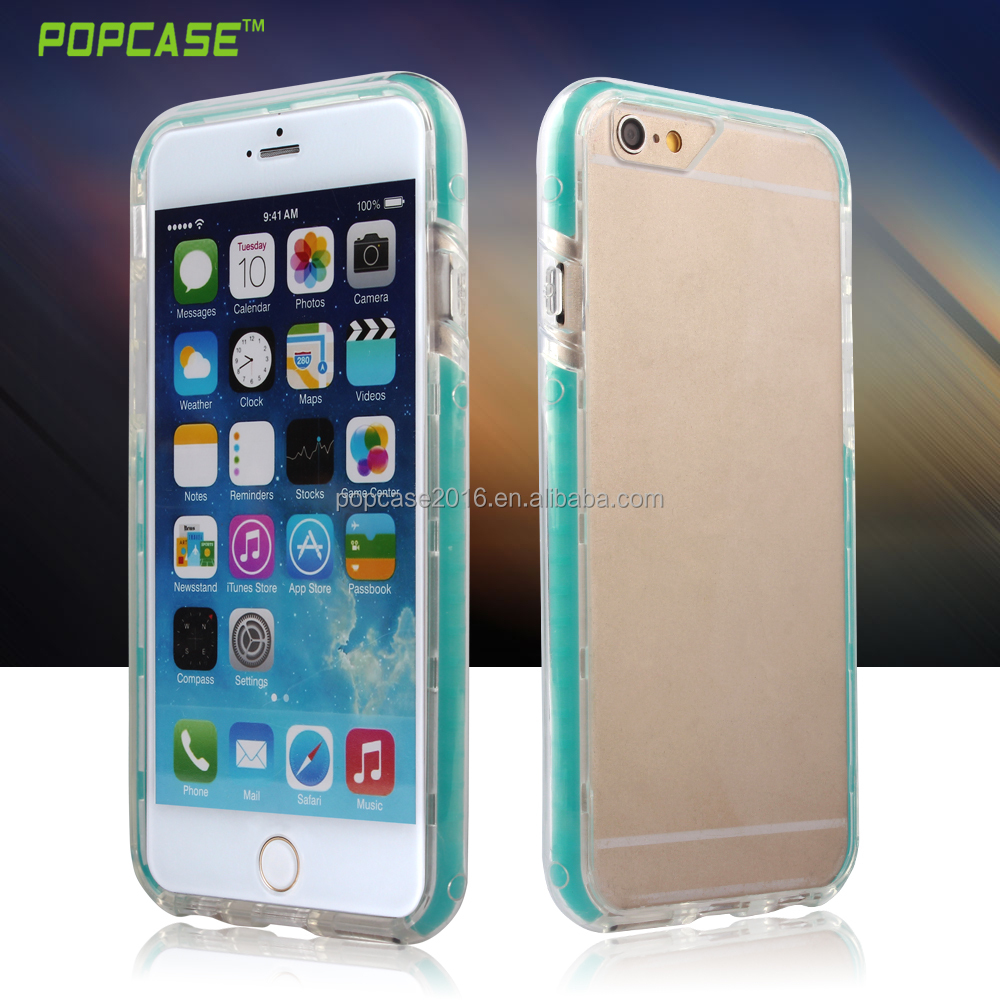 Transparent Cellphone Case with colorful silicone for I Phone 6 and I Phone 6 Plus
