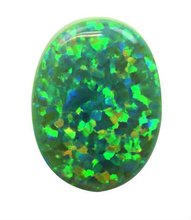 Green Impregnated Synthetic Opal On Stone