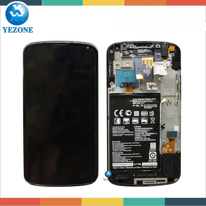 Full LCD Assembly For LG Nexus4 E960 LCD Screen With Frame and Battery, For LG Nexus 4 E960 LCD Display with Touch Digitizer